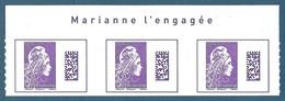 Bande De 3 N°1656 Marianne D'Yseult International Datamatrix Violet Autoadhésif Neuf** (issu De Feuille) - 2018-... Marianne L'Engagée