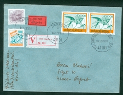 Yugoslavia 1989 FDC Definitive Issue Michel 2391 Swallow Valuable Letter Postal Traffic Inflation Postman - 1945-1992 Socialist Federal Republic Of Yugoslavia