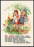 C4302 - TOP Glückwunschkarte - Kinder Blumen - Künstlerkarte - Verlag Max Müller Karl Marx Stadt - DDR - Feiern & Feste