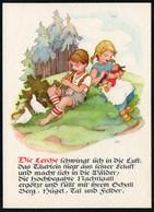 C4303 - TOP Glückwunschkarte - Kinder Puppe Vögel - Künstlerkarte - Verlag Max Müller Karl Marx Stadt - DDR - Feiern & Feste