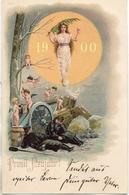 Année Date Millesime - 1900 - Femme Paix Dans Soleil Anges Canon Soldat - New Year