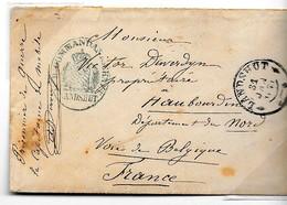 Guerre De 1870 - Camp De Lanschut  (BAVIERE ) Pour Haubourdin (Nord) Par Voie De Belgique. Capitaine DUVERDYN - Marcophilie (Lettres)