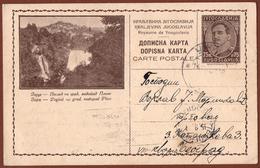 YUGOSLAVIA-BOSNIA, JAJCE WATERFALL, 1st EDITION, LIGHT BROWN CARDBOARD ILLUSTRATED POSTAL CARD RRR!! - Ganzsachen