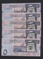 Lotto 5 Banconote Arabia Saudita - 5 Riyals 2012 (circolate) - Arabia Saudita