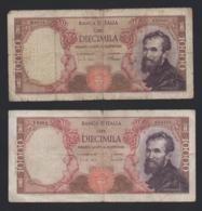 Lotto Due Banconote 10.000 Lire Michelangelo (circolate) - [ 2] 1946-… : Repubblica