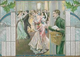 CALENDARIO DEL PORTALETTERE 1910 CROMO LITO RILIEVO PORTALETTERE BALLO FINE ANNO 2 SCAN  -2-22882-83 - Calendriers