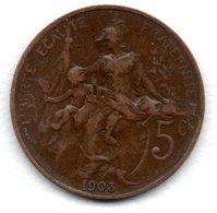 Dupuis  -  5 Centimes 1903 -  état TB+ - C. 5 Centimes