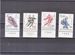 YOUGOSLAVIE 1968 JEUX OLYMPIQUES DE GRENOBLE Yvert  1139-1142 NEUF** MNH - 1945-1992 République Fédérative Populaire De Yougoslavie