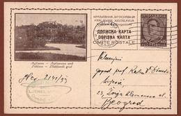 YUGOSLAVIA-SLOVENIA, LJUBLJANA, 1st EDITION, LIGHT BROWN CARDBOARD ILLUSTRATED POSTAL CARD RRR!! - Ganzsachen
