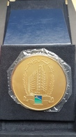 Lebanon BLOM Bank Beautiful Gold Plated Medal Still SEALED In It Its Bag (UNC) And Original Box - Tokens & Medals