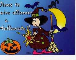 Viens Te Faire Allumer A HALLOWEEN, Citrouille,sordiere,balai,chauve Souris,chat, Illustrateur Motem - Halloween