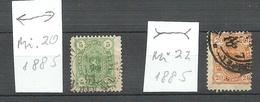 FINLAND FINNLAND 1885 Michel 20 & 22 Varieties ERROR Abart Wide & Narrow Stamp O - 1856-1917 Administration Russe