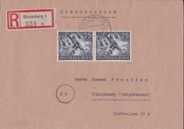 Deutsches Reich 1944, R- Brief MeF Mi 839x Nach Königsberg - Deutschland