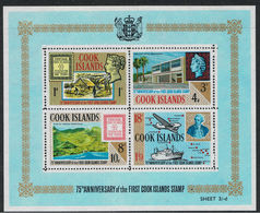 COOK ISLANDS, 1967 75th Anniversary Of The First Cook Islands Stamp, S/s MNH - Islas Cook