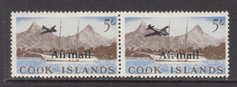 """1966 Cook Islands 5/- Airmail Surcharge Pair """"small Plane BIG Plane"""" HINGED  Great For Display - Cook"""