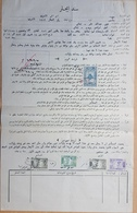 GE - Lebanon 1952 Rent Document With Several Rare Fiscal Revenue Stamps & Contract 20pl Sucharge On 15p Notarial - Lebanon