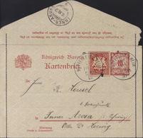 Entier Kartenbrief Konigreich Bayern 10 Pf Rouge + YT 63 CAD Hettenleidelheim 14 Dez 1897 Arrivée Suisse Inner Arosa - Allemagne