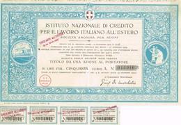 Titre Ancien - Istituto Nazionale Di Credito Per Il Lavoro Italiano All'Estero  - Titolo De 1924 - Banque & Assurance