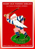 SUPER PIN'S RUGBY-SABLE D'OLONNE (Vendée) : OLD FISCHERS SABLAIS émail Base Or + Vernis, Format 3X2,3cm - Rugby