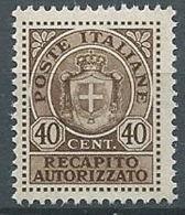 1945 LUOGOTENENZA RECAPITO AUTORIZZATO 40 CENT MNH ** - 20 - 5. 1944-46 Lieutenance & Umberto II