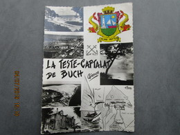 CP 33 Le Bassin D'arcachon LA TESTE De BUCH  - CAPTALAT - Multivue Et Blason Avec Carte Géographique Vers  1950 - Other Municipalities
