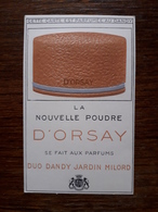 Petite Carte Parfumée Publicitaire. La Nouvelle Poudre D'Orsay - Perfume Cards