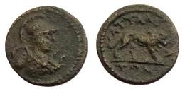 [H] +++ AE15 -- Pseudo-autonomous --  ATTALEIA / ATTALEA In LYDIA - Athena / Lion - VERY RARE +++ - Römische Münzen