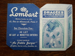Mini Calendrier Publicitaire. 1953. Dragées Au Fidele Berger, Chocolats Lombart - Small : 1941-60