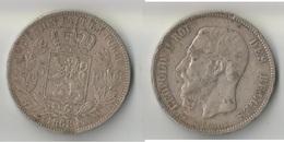 BELGIQUE 5 FRANCS 1868  A  ARGENT - 1865-1909: Leopold II