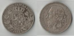 BELGIQUE 5 FRANCS 1873  A  ARGENT - 1865-1909: Leopold II