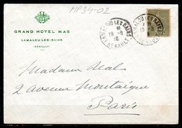 MP34-02 : Dept 34 (Hérault) LAMALOU-LES-BAINS 1918 > Cachet Type A4 (Grand Hotel MAS) - Postmark Collection (Covers)