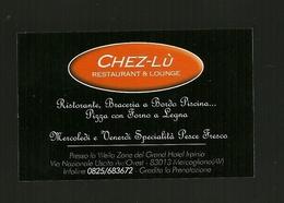 Biglietto Da Visita - Ristorante Chez Lu' - Mercogliano ( Avellino ) - Cartoncini Da Visita