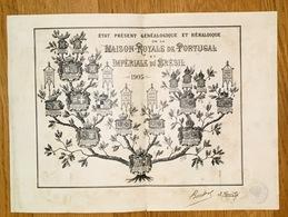 Gravura ARVORE GENEALOGICA Casa Real PORTUGAL E Imperial BRASIL. Old Print France BENDER D'ARROZ 1905 - Documents Historiques