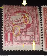 "Romania 1916 ,help Stamp 1LEU, REDD QUEEN MARIE, WITH ERRORS AT WORD ROMANIA, GLUED ""R"" AJUTOR,MNH - Errors, Freaks & Oddities (EFO)"