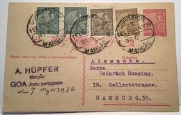 Portuguese India RARE Postal Stationery 3 Reis MARGAO 1936 > Hamburg (cover Goa Lettre Correio India Portuguesa - Inde Portugaise