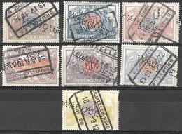 """_8Bv-738: Restje 7 Spoorwegzegels Van  """" WAUQUEZ """" :   ...perfins... - Lochung"""