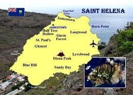 Saint Helena Island Map New Postcard Landkarte AK - Ansichtskarten