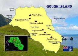 Gough Island Map UNESCO New Postcard Landkarte AK - Cartes Postales