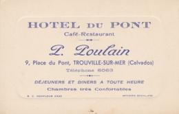 CALVADOS TROUVILLE SUR MER HOTEL DU PONT P. POULAIN - Cartes De Visite