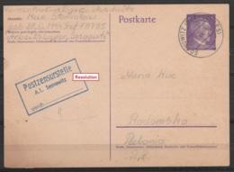 EP CP 6pf Violet Càpt SOSNOWITZ (OBERSCHLES) /11-8-1944 (camp De Concentration Auschwitz) Pour RADOMSKO (Pologne) - Grif - Briefe U. Dokumente