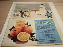 ANCIENNE PUBLICITE COMBATTEZ LE FROID GRACE A L ORANGE 1957 - Afiches