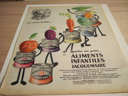 ANCIENNE PUBLICITE AUX ORDRES DE BEBE ALIMENTS INFANTILES  JACQUEMAIRE 1957 - Affiches