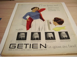 ANCIENNE PUBLICITE CE QUE FEMME VEUT LA GAINE QUI TIENT DE GETIEN 1957 - Vintage Clothes & Linen