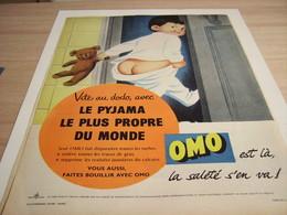ANCIENNE PUBLICITE PYJAMA LE PLUS PROPRE OMO  1957 - Other