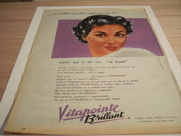 ANCIENNE PUBLICITE CHEVEUX VITAPOINTE DE VITABRILL  1957 - Perfume & Beauty