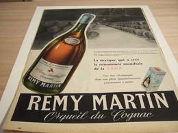 ANCIENNE PUBLICITE FINE CHAMPAGNE COGNAC REMY MARTIN 1957 - Alcools