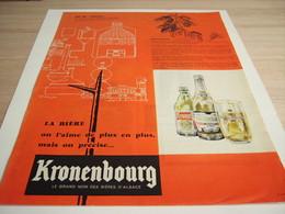 ANCIENNE PUBLICITE AU 20 SIECLES ON L AIME TOUJOUR  KRONENBOURG 1957 - Alcools