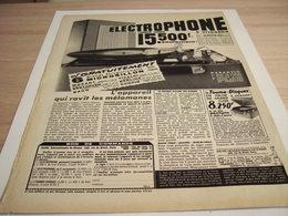 ANCIENNE PUBLICITE 15500 FRANCS ELECTROPHONE COMPLET 1957 - Autres