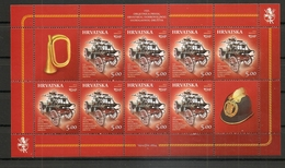 CROATIA 2014,FIREMAN,FIRE VEHCLE,FIRE TRUCK,FIREMAN HELMET,TRUMPET,SHEET,MNH - Pompieri