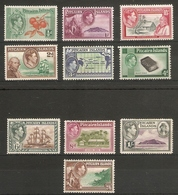 PITCAIRN ISLANDS 1940 - 1951 SET OF 10 STAMPS SG 1/8 (LIGHTLY) MOUNTED MINT Cat £75 - Stamps